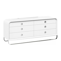 White Line Imports - Liquido Dresser in High Gloss White - Designed with smooth rounded corners, sleek handles and stainless steel legs, this modern 6-drawer double dresser continues a distinctive style of Liquido bedroom collection, creating a striking and futuristic look. 6 roomy drawers with self close runners will store all your clothes and other essentials organized and close at hand.