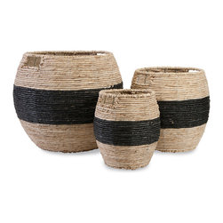 iMax - Dorran Woven Baskets, Set of 3 - Corn husks woven over a sturdy iron frame form the basis of black-banded baskets with handles and a storage solution with style.