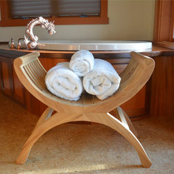 Teak iShower Stool for the Bathroom or Spa - This stool adds style to your bathroom due to its exquisite design. It is very comfortable to sit in whle in the shower. It can also be used as a side table for towels etc. This handcrafted teak bench is built to last.