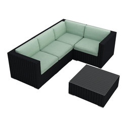 Harmonia Living - Urbana 5 Piece Modern Patio Sectional Set, Spa Cushions - If your favorite place to entertain is outside, here's the perfect modular sectional and coffee table. Configure it in a new way for every party, depending on who's coming over, or buy more than one! The durable resin wicker, sturdy aluminum feet and Sunbrella® cushions can handle the elements for as long as you can.