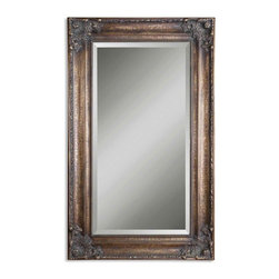 Uttermost - Bertha Oversized Bronze Mirror - Hang an oversized mirror in your entryway or above the fireplace for a classic look. The large reflection will instantly open up your room and create a greater sense of space. The vintage look of crackled bronze leaf will add substance and style to your home.