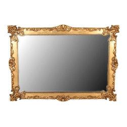 MBW Furniture - 6-Foot Solid Mahogany Gold Baroque Framed Mirror - Kiln dried solid mahogany construction