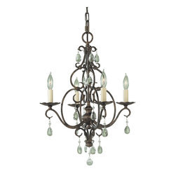 Murray Feiss - Murray Feiss Chateau Traditional Mini Chandelier X-ZBM4/4091F - Traditional styling blended with beautiful scrollwork, crystal accents and a warm, elegant finish draw the eye in on this Murray Feiss mini chandelier, or chandelette. From the Chateau Collection, it features a rich Mocha Bronze finish and four candelabra style lights that pull the look together.