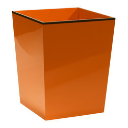"""Bungalow 5 - Bungalow 5 Horses Waste Bin - The Bungalow 5 Horses waste bin presents striking interior style. An eye-catching orange finish with brown trim offers the home accessories sophisticated intrigue. 9.5""""W x 9.5""""D x 11.75""""H; Orange and brown lacquer; MDF"""