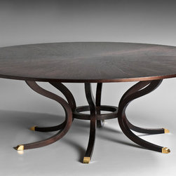 Skylar Morgan Furniture + Design - Stanley Dining Table - This traditional dining table features a round walnut top, and curved legs that create an interesting base.  The feet are tipped in brass to give a touch of elegance!
