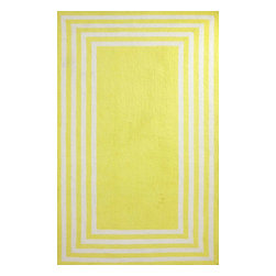 nuLOOM - Contemporary Solid & Striped 5' x 8' Yellow Hand Hooked Area Rug BL04 - Made from the finest materials in the world and with the uttermost care, our rugs are a great addition to your home.