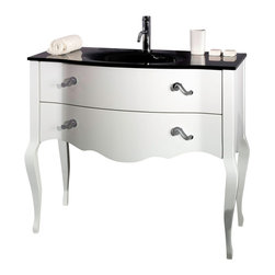 Iotti - 39 Inch Vanity Cabinet With Glass Sink - This floor standing bathroom vanity set is made of engineered wood in a glossy white finish. Vanity cabinet features 2 soft-closing drawers with beautiful classic looking handles. Vanity set also includes integrated black glass sink. Made and designed in Italy by high-end bathroom brand Iotti. Please note faucet is not included.