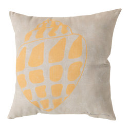 """Surya - Square Decorative Pillow RG-016 - 20"""" x 20"""" - Enjoy a tranquil reminder of the beach in your space with this charming shell pillow. Featuring a shell design colored in impeccable yellow and splashed across a cool beige backdrop, this piece is sure to pop within any room. This pillow contains a Virgin Poly Styrene Bead fill providing a reliable and affordable solution to updating your indoor or outdoor decor."""