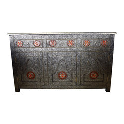 Badia Design Inc. - Moroccan Metal and Orange Bone Cabinet - Our Moroccan Rectangular Metal and Orange Bone Cabinet is handcrafted and hand designed by our skilled Moroccan artisans.
