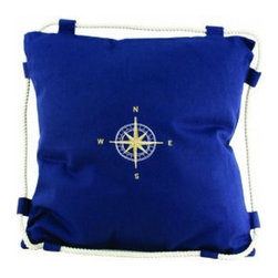 """Handcrafted Model Ships - Navy Blue Compass Pillow 15"""" - Blue Pillow - This charming Navy Blue Compass Pillow 15"""" combines the atmosphere of the sea along with the nautical star placed directly in the center of our pillow. To round out the nautical aesthetic of this pillow, we have wrapped a white rope around the edge of the pillow to further accent this this decorative throw pillow. Place this nautical theme pillow in your home to show guests your affinity for nautical decoration."""