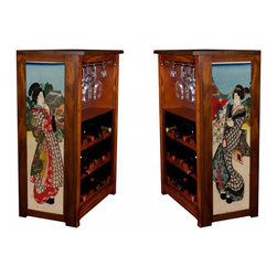"Kelsey's Collection, Inc. - Toyokuni Wine Cabinet Actress - Pine Wine Cabinet  stores wine and glassware with famous artwork by Ukiyoye artist Toyokuni (Kunisada) giclee-printed on canvas side panels. The art is giclee printed on canvas with three coats of UV inhibitor to protect against the sunlight and thereby extend the longevity of the art. The canvas is then glued onto panels and inserted into the frames. Kelsey's Wine Cabinet showcases and stores wine and glassware with solid radiata pine construction. Famous artwork is giclee-printed on canvas side panels which provide a unique decorating touch of art that enhances the product and reflects your home-decor style.  The frame, top, and racks are solid New Zealand radiata pine with a hand stained and hand rubbed rubbed medium reddish brown finish, that is then protected with a  lacquer coat and top coat.. Kelseys Collection is where ""Great Art & Function Meet""  This model is also referred to as the Jessica model. Dimensions are 33 by 22 by 12 deep.  Holds 15 wine bottles and full sized wine glasses.  Some assembly required."