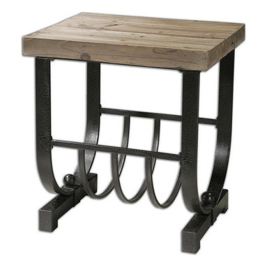 Uttermost - Uttermost 24303  Bijan Planked Fir Top Accent Table - Forged, black iron base with natural, planked fir wood top.