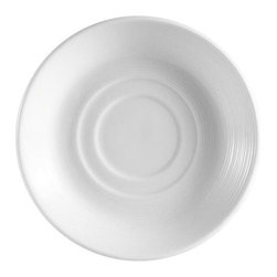 CAC China - Harmony Pattern 5 1/2 Inch White Saucers - Case of 36 - DescriptionsC.A.C China provides durable dinnerware at all levelsincluding super white porcelain fine bone china American white chinacolored glaze china and Asian style china. C.A.C China offers a variety of innovative shapes from square rectangular triangular wavy to round that will brighten up any tables for modern trendy restaurants hotels resorts clubs caterers cruises etc. All C.A.C China products are oven microwave and dishwasher safe.