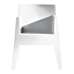 Driade - Set of 4 TOY Chairs by Philippe Stark for Driade - Toy designed by Philippe Starck in 1998 is a chair deliberately abstract in its composition and for this reason comfortable in unpredictable ways. Seemingly carved into a block, Toy speaks a language of sharp and broad plans that make it different from other molded polypropylene chairs. In this connotation Toy is unique even within the design corpus of Philippe Starck. Toy is suitable for indoor or outdoor use and stacks up to 14 high. Toy is constructed of white Polypropylene monobloc.