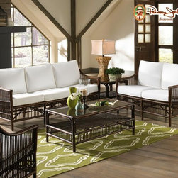 New Panama Jack Sunroom Collections - This beautiful Sunroom collection features a sofa, loveseat, side chairs , along with coffee and end tables. Make of highly durable and strong rattan poles. Cushions are sold as is or with a choice of other fabrics.