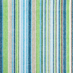 Fisher Ticking Woven Cotton Rug - These soothing blues and greens remind me of the clear waters of the Caribbean.