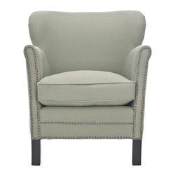Safavieh - Jenny Arm Chair - Sea Mist - The updated silhouette of the Jenny arm chair is designed for modern traditionalists who prefer rooms with a transitional spin. Jenny takes a graceful form, with its petite scale, delicate roll arms and curved wing-back, all upholstered in chic linen fabric in sea mist with clubby brass nailhead trim. A plush seat cushion and straight birch legs complete the look.