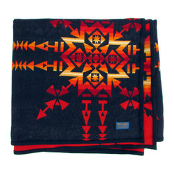 Pendleton - Consigned Old Pendleton Beaver State Blanket w/ Reversible Pattern - Great midcentury Pendleton blanket in rare pattern that reverses for a bright red or navy look. Beaver State label with navy wool bound edges.