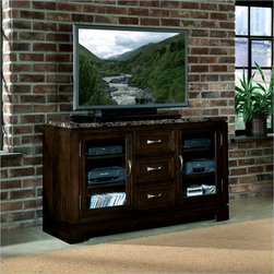 Standard Furniture Bella 54 Inch TV Stand with Marbella Top - The Bella TV Stand is constructed of cherry veneers over solid pine and quality wood products, and is finished in a warm chocolate cherry stain color.