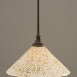 Toltec Lighting - Bronze Stem Mini Pendant with Gold Ice Glass - - 12-Inch Gold Ice Glass  - Bulbs not included  - Comes with 1-6-Inch, 2-12-Inch, and 1-18-Inch stem sections  - Comes with a hang straight swivel Toltec Lighting - 23-BRZ-702