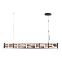 LBL Lighting - Scarlett LED Suspension Light - Linear metal frame filled with brilliant plated metal facets.