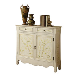 Adarn Inc - New Trendy White Hand Painted Two Drawers Doors Accent Storage Console Cabinet - The White Hand Painted Console adds sophistication and class to any room. The decorative curved bottom adds an extra touch of drama to the piece while a hand painted leaf pattern adorns the front. The console opens with two doors to reveal storage space with a fixed shelf. This is the perfect piece to add to any entryway, hall, bedroom or living area. Fully Assembled.