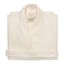 Kassatex - Kassatex Kassanilo Shawl Bath Robe, Beige - After a bath, a dip in the pool or at the end of a long and grueling day, this luxurious robe is just the thing to soothe you. Made of soft and absorbent Egyptian cotton in a textural waffle weave, it has a gently rolled shawl collar with contrasting edging.