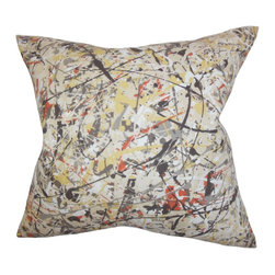 """The Pillow Collection - Geneen Geometric Pillow Black 18"""" x 18"""" - Embellished with an edgy color palette and geometric detail, this accent pillow creates a contemporary twist to your interiors. This square pillow features an abstract detail in shades of gray, orange, black, yellow and white. Crafted with 100% soft cotton material, this 18"""" pillow will uplift your decor style. Hidden zipper closure for easy cover removal.  Knife edge finish on all four sides.  Reversible pillow with the same fabric on the back side.  Spot cleaning suggested."""
