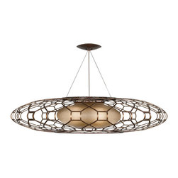 Fine Art Lamps - Entourage Pendant, 817340ST - Design buffs will go gaga over this artful homage to midcentury design. It's all here, from the perforated metal grillwork to the classic flying-saucer shape. The rich bourbon finish is accented with gold highlights and paired with an interior shade of diffused glass to keep the lighting mellow while you're mixing up the martinis.