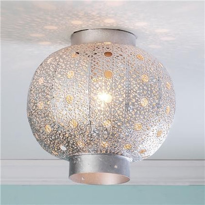 Mediterranean Ceiling Lighting Pierced Moroccan Metal Globe Ceiling Light - Shades of Light - eclectic - ceilin