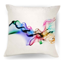 Ambiance Design - Color Smoke Contemporary Throw Pillow - A puff of vibrant smoke comes to life on this unique pillow. The wild colors on the pristine white background will look splendid on that bright green settee you've been eyeing.