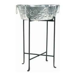 Achla - Galvanized Tub w Floor Stand - The fanciful embossing on this galvanized steel tub bring it a sense of attractive whimsy, featuring beautiful designs on a shimmering surface.  This tub and floor stand combo offers a wide variety of uses, from holding potted plants to containing iced drinks. * Floor Stand. Embossed Galvanized Tub. 23 in. H
