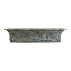 "IMAX - Aster Metal Wall Shelf - Inspired by antique ceiling tiles and incorporating timeless motifs, the Aster metal wall shelf has an aged blue finish and looks great with a variety of decor. Item Dimensions: (13.5""h x 52""w x 11.5"")"