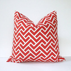 Coral Organic Geometric Designer Pillow Cover by Whitlock & Co. - This red and white cushion is so cheerful. I would use it on an old white-painted bench or a paint-chipped chair. I love mixing old and new.
