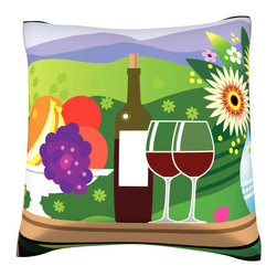 Custom Photo Factory - Fruit, Wine, and Cheese on Table  Polyester Velour Throw Pillow - Fruit, Wine, and Cheese on Outdoors Table Pillow. 18 Inches x 18  Inches.  Made in Los Angeles, CA, Set includes: One (1) pillow. Pattern: Full color dye sublimation art print. Cover closure: Concealed zipper. Cover materials: 100-percent polyester velour. Fill materials: Non-allergenic 100-percent polyester. Pillow shape: Square. Dimensions: 18.45 inches wide x 18.45 inches long. Care instructions: Machine washable