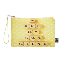 DENY Designs - DENY Designs Happee Monkee You Are My Sunshine Pouch - You name it, DENY's Pouches hold it! Available in two sizes and styles, you can use our water repellent pouches for cosmetics, perfume, jewelry, pencils and even an Ipad mini! And did we mention that the small size doubles as a wristlet? With a coordinating color strap and interior lining, you can throw it into a larger bag or use it on the go as a clutch to hold your phone, credit cards and various other essentials. It's a party in a bag!