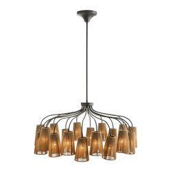 Arteriors - Seasal Chandelier - The design of this  20 light chandelier is perfect for sea and sand or casual urban spaces. The natural hand wrapped sisal cord around the metal frames has a rustic look with a modern geometric twist. Max Wattage (per socket): 40. Hardwire. UL Listed, bulb not included, wired for 110-120v. Installation required.