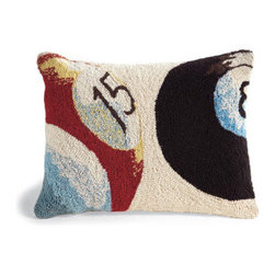 Grandin Road - Darts Game Pillow - Hand-hooked wool front. Neutral cotton velveteen backing. Plump polyfill insert included. Removable cover with a hidden zipper. Dry clean. Our Game Pillow is the perfect accent to liven up a sofa or an armchair in your game room or man cave. Each of the hand-hooked designs features a delightful, oversized view of a dartboard or billiards balls.  .  .  .  .  .