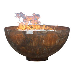 John T. Unger - Big Bowl O' Zen Sculptural Firebowl, 37 Inch Diameter - Every home needs a center of serenity. The calm lines of the Big Bowl O' Zen make a statement without speaking loudly. It just is.