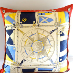 """Petra & Jules Embellished Wear - Nautical Silk Pillow - This 22"""" nautical silk pillow is one-of-a-kind, with a folded bordered edge and jet blue faux suede backside It's sure to make a beautiful statement on any boat or any nautical room decor. Zipper closure and pillow form included."""