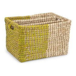 Harvey Two Tone Magazine Rack - Beautifully crafted, the Harvey two-tone magazine rack features a green and white design perfectly complementing the natural fiber weaving.