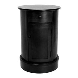 "Oriental Furniture - 26"" Classic Oval Design Nightstand - Black - Oval podium-style table or stand, with a top drawer and lower cabinet. Drawer and cabinet pulls are matching round metal knobs. Solid, cylindrical body and wide base make this table particularly sturdy. Perfect for the bedroom, living room, family room, or home office."