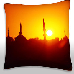 Custom Photo Factory - Sunset over Istanbul, turkey   Polyester Velour Throw Pillow - Sunset over Istanbul, turkey  18 x 18 Inches  Made in Los Angeles, CA, Set includes: One (1) pillow. Pattern: Full color dye sublimation art print. Cover closure: Concealed zipper. Cover materials: 100-percent polyester velour. Fill materials: Non-allergenic 100-percent polyester. Pillow shape: Square. Dimensions: 18.45 inches wide x 18.45 inches long. Care instructions: Machine washable