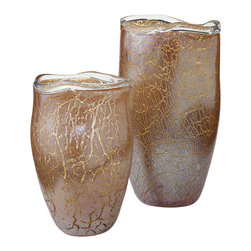 Studio A - Metallic Amber Vase - Large - The rich combination of amber, clear and metallic gold cased glass creates an unusual yet well-priced object d'art. Bands of molten glass are applied to the rims to create a free-form edge. Available in two sizes. Each size sold separately.