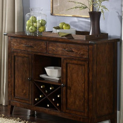 Liberty Furniture - Cabin Fever Server in Bistro Brown Finish - Two drawers. 1 Fixed shelf behind each door. Framed two door fronts. Wine bottle storage. Tapered block legs. Warranty: One year. Made from select hardwoods and oak veneers. Made in Malaysia. 52 in. W x 18 in. D x 38 in. H (115 lbs.)