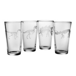 Susquehanna Glass - Jurassic Pint Glass, 16oz, S/4 - Each 16 ounce glass features a sand etched dinosaur fossil design which wraps around the glass. Dishwasher safe. Sold as a set of four. Made and decorated in the USA.