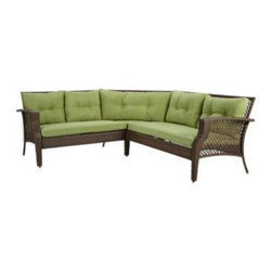 Ace Evert Inc. - Wicker Sectional Set in Lime - Sofa consists of a right arm chair, left arm chair and middle triangular chair to provide sectional seating for any outdoor setting. Made using an all steel body for strength and a wicker design for elegant styling.