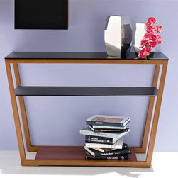 Calligaris - Element Entryway Console Table (Frosted Extra - Color: Frosted Extra White Glass & Walnut FinishPictured in Frosted Black Glass & Walnut Finish. Hall console table with matching finish toughened glass top and shelf. Features a trapezoidal wooden frame with a base that can be used as an extra shelf. Assembly required. 47.25 in. W x 15.75 in. D x 31.5 in. H