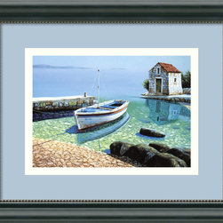 "Amanti Art - ""Morning Reflections"" Framed Print by Fran Mlinar - For your next vacation, you'll want to go wherever Fran Mlinar painted this lovely scene. If only you could walk the peaceful pebble shore and dangle your legs off the dock into the clear, reflective blue water."