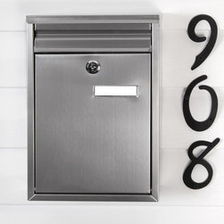 Zaguan Locking Wall-Mount Mailbox - Stainless Steel - Featuring a sleek design, the Zaguan Locking Wall-Mount Mailbox easily complements any home. The locking door ensures security, while the front mail slot lifts easily for incoming mail deposit.